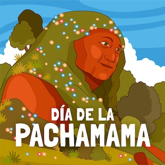 Ilustración de dibujos animados dia de la pachamama