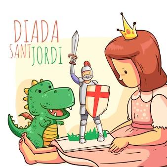 Ilustración de dibujos animados diada de sant jordi con caballero, dragón y princesa