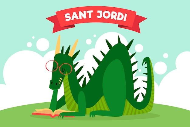Ilustración de dibujos animados diada de sant jordi con libro de lectura de dragón