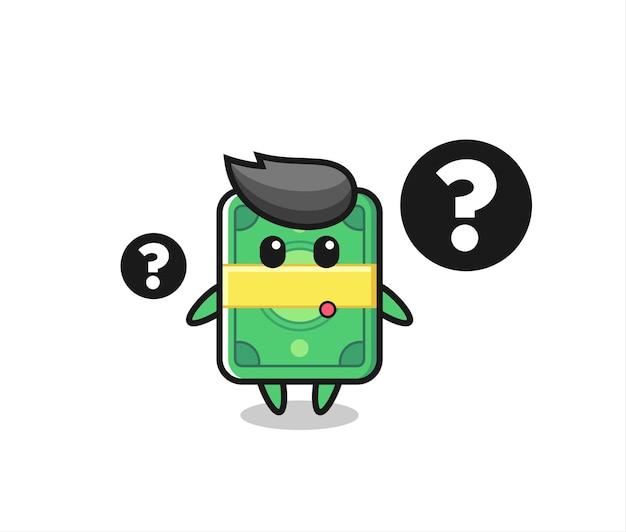 Ilustración de dibujos animados de dinero con el signo de interrogación, diseño de estilo lindo para camiseta, pegatina, elemento de logotipo