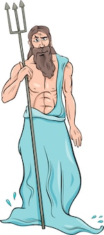 Ilustración de dibujos animados de dios poseidón griego