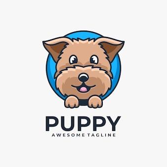Ilustración de dibujos animados de diseño de logotipo de cachorro