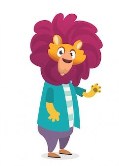Ilustración de dibujos animados divertido león