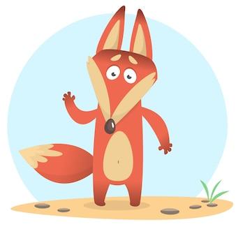 Ilustración de dibujos animados divertido zorro