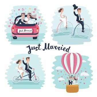 Ilustración de dibujos animados divertidos de escenas de recién casados felices