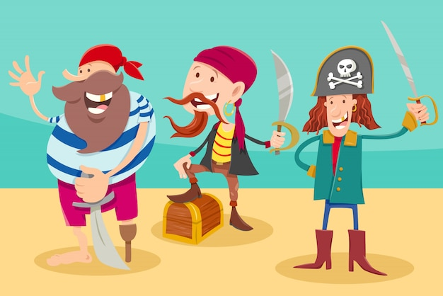 Ilustración de dibujos animados de divertidos personajes de fantasía piratas