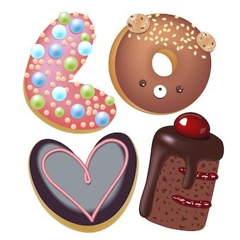 Ilustración de dibujos animados donut. palabra dibujada a mano amor bollo dulce. trabajo de arte creativo real hornear