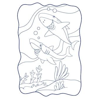 Ilustración de dibujos animados dos tiburones están cazando a sus presas en el libro marino o página para niños en blanco y negro