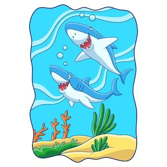 Ilustración de dibujos animados dos tiburones están cazando a sus presas en el mar