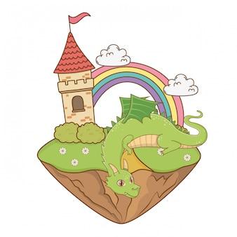 Ilustración de dibujos animados de dragón aislado
