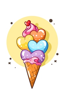 Una ilustración de dibujos animados dulce colorido amor helado