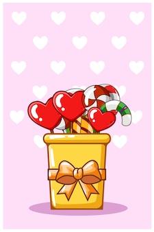 Ilustración de dibujos animados de dulces de san valentín