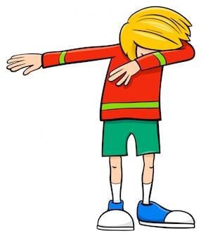 Ilustración de dibujos animados de la edad de la escuela primaria o el carácter de adolescente dabbing boy