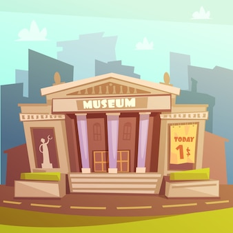 Ilustración de dibujos animados del edificio del museo