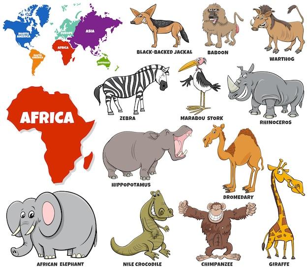 Ilustración de dibujos animados educativos de personajes de animales africanos establecidos