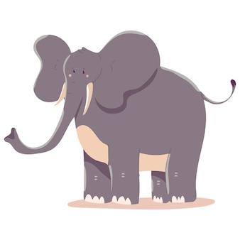 Ilustración de dibujos animados de elefante aislado sobre fondo blanco.