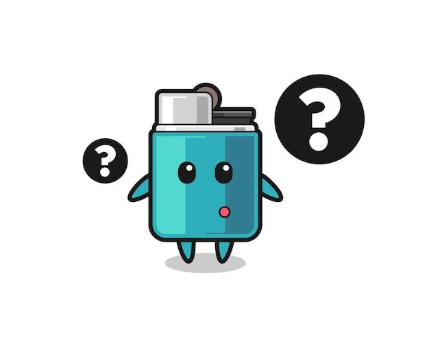 Ilustración de dibujos animados de encendedor con el signo de interrogación, diseño lindo