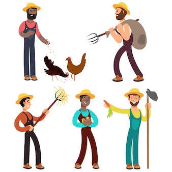 Ilustración de dibujos animados del equipo internacional de agricultores