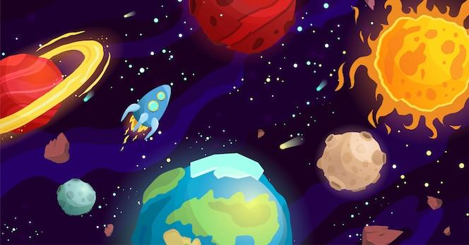 Ilustración de dibujos animados de espacio con diferentes planetas y cohetes. Galaxy, cosmos, elemento universo para juegos de computadora, libro para niños.