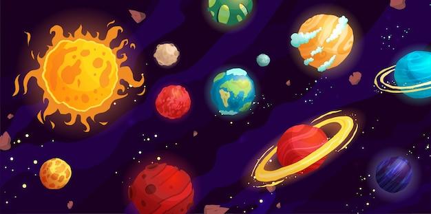 Ilustración de dibujos animados de espacio con diferentes planetas. galaxy, cosmos, elemento universo para juegos de computadora, libro para niños.