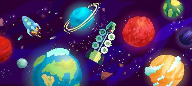Ilustración de dibujos animados de espacio con diferentes planetas y naves espaciales.