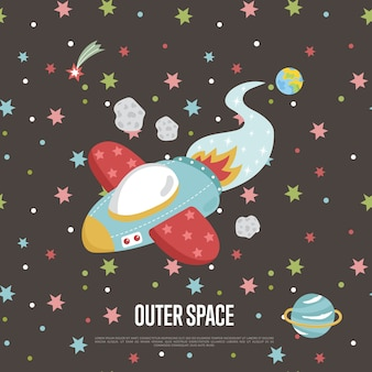 Ilustración de dibujos animados del espacio exterior con plantilla de texto