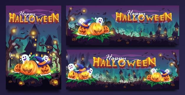 Ilustración de dibujos animados espeluznante de feliz halloween con plantilla de varios tamaños