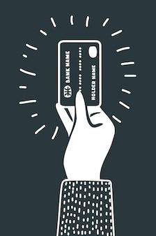 Ilustración de dibujos animados esquema de mano sosteniendo icono negro de tarjeta de crédito