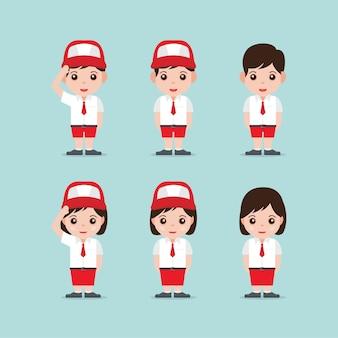 Ilustración de dibujos animados de estudiantes indonesios con uniforme de escuela primaria
