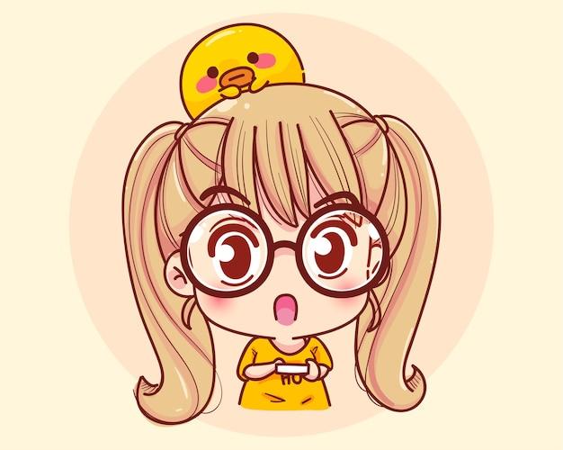 Ilustración de dibujos animados de expresión sorprendida chica joven