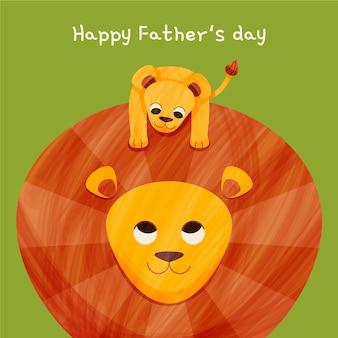 Ilustración de dibujos animados feliz día del padre con león y cachorro