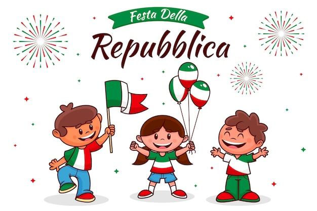 Ilustración de dibujos animados festa della repubblica