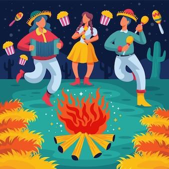 Ilustración de dibujos animados festa junina