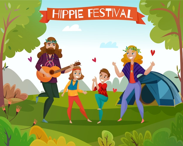 Ilustración de dibujos animados del festival hippie