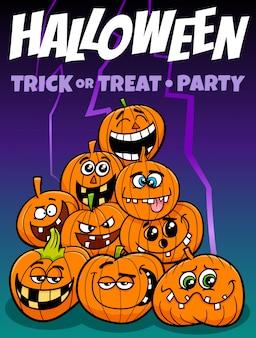 Ilustración de dibujos animados de fiesta de halloween con calabazas