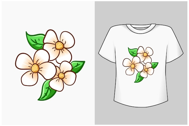 Ilustración de dibujos animados de flor de cerezo blanco
