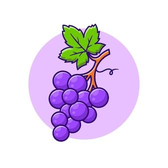 Ilustración de dibujos animados de fruta de uva. estilo de dibujos animados plana