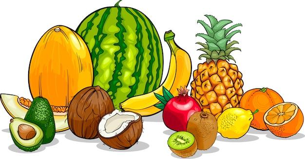 Ilustración de dibujos animados de frutas tropicales