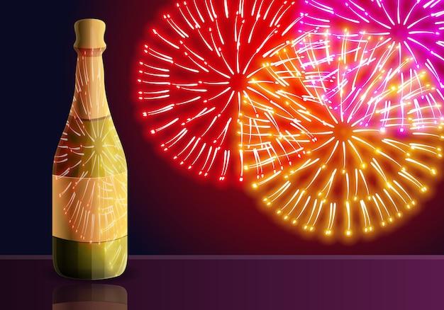 Ilustración de dibujos animados de los fuegos artificiales de champagne