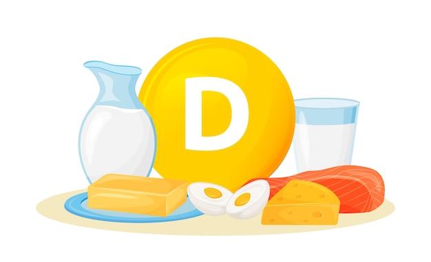 Ilustración de dibujos animados de fuentes alimentarias de vitamina d. mantequilla, quesos, productos de origen animal. huevos, leche, pescado objeto de color de dieta saludable. nutrición saludable sobre fondo blanco.