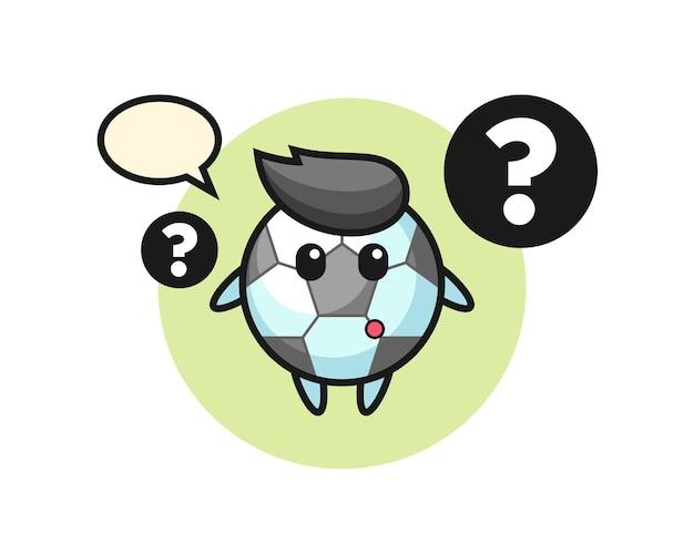 Ilustración de dibujos animados de fútbol con el signo de interrogación, diseño de estilo lindo para camiseta, pegatina, elemento de logotipo