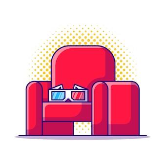 Ilustración de dibujos animados de gafas de cine 3d y silla de cine. concepto de icono de cine blanco aislado. estilo de dibujos animados plana