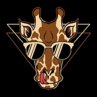 Ilustración de dibujos animados de gafas jirafa