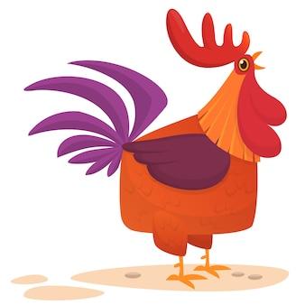 Ilustración de dibujos animados gallo divertido