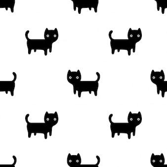 Ilustración de dibujos animados de gatito gato de patrones sin fisuras
