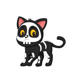 Ilustración de dibujos animados de gatito de halloween