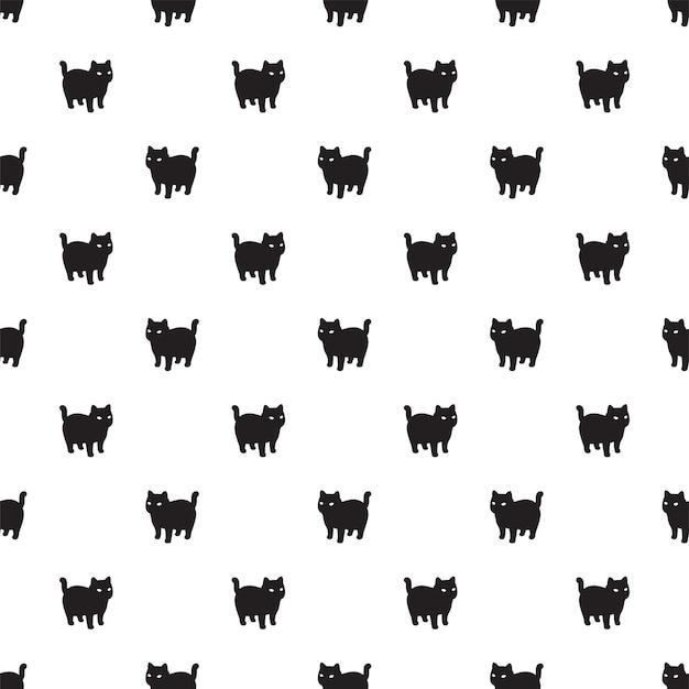 Ilustración de dibujos animados de gato gatito de patrones sin fisuras