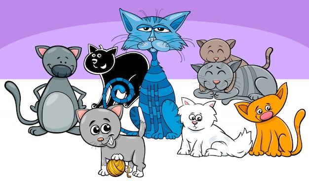 Ilustración de dibujos animados de gatos y gatitos animales