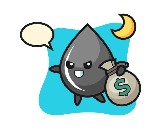 Ilustración de dibujos animados de gota de aceite se roba el dinero