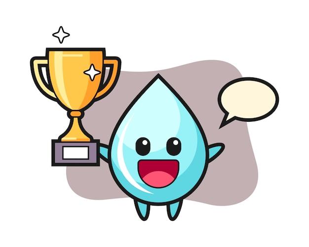 Ilustración de dibujos animados de gota de agua es feliz sosteniendo el trofeo dorado, diseño lindo estilo para camiseta